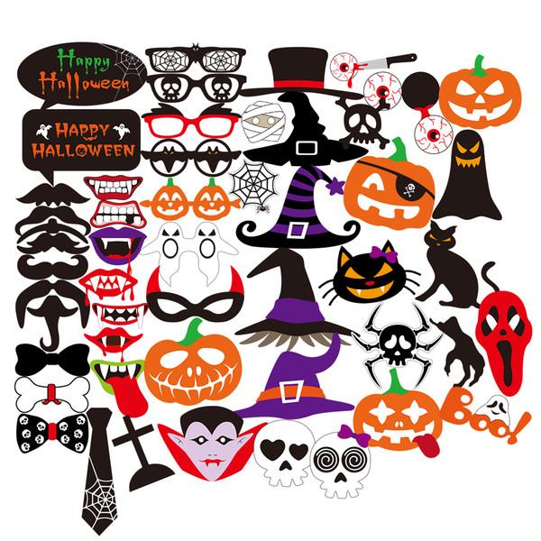 52pcs Halloween Horror Photo Props On A Stick Skull Magic Hat Pumpkin Funny Paper Beard Batman Mustache Bearded Lips Hat Masks