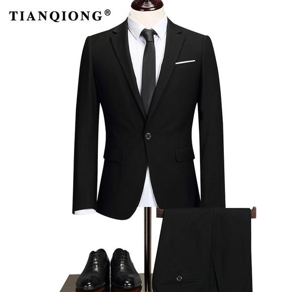 TIAN QIONG Brand 2018 Male Solid Color Men Long Sleeve Senior/Wedding /dress/Man Business Affairs Suit Jacket+trousers S-5XL