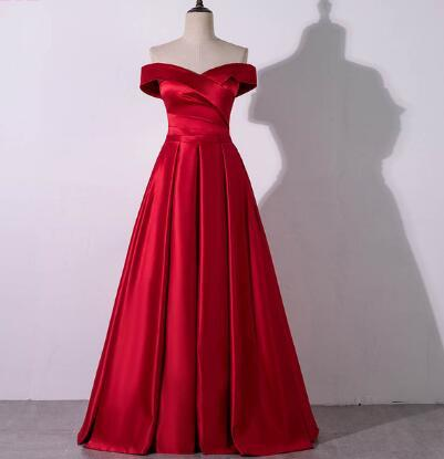 YQLNNE 2018 Red Prom Dresses Off the Shoulder Long Satin Evening Gown