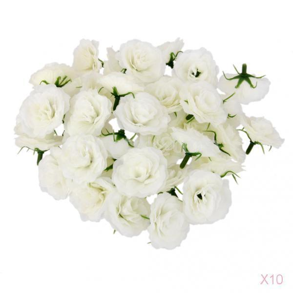500Pcs Artificial Silk Flower Head Simulation Fake Rose Flower Heads Bulk for Wedding Party Decor White C18111501