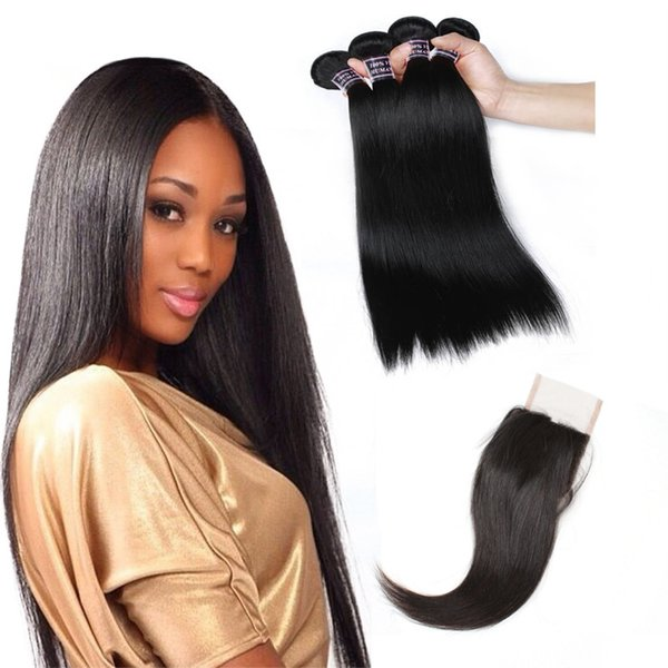 Free Shipping Cheap 8A Brazilian Hair Straight Hair Extensions 4Bundles With 4x4 Lace Closure Human Hair Weave Wholesale Price