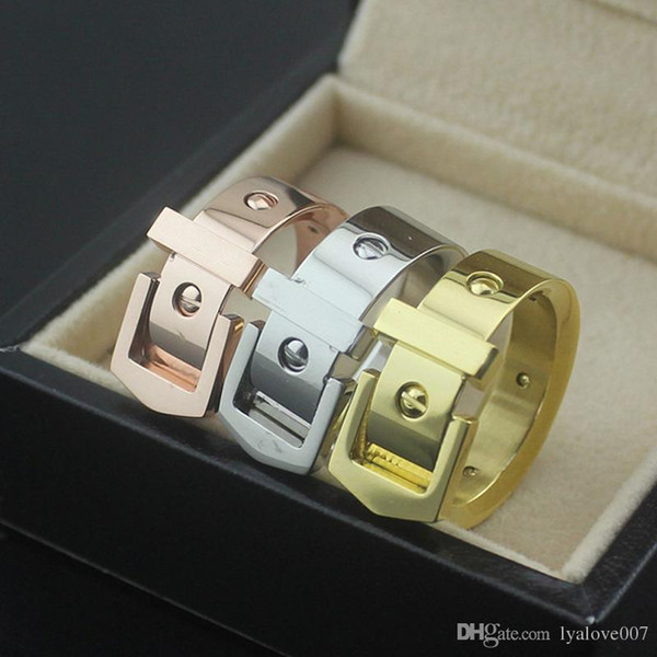316L Titanium steel Belt Buckle rings lovers Band Rings Size for Women and Men in 7mm width femme love ring fashion jewelry