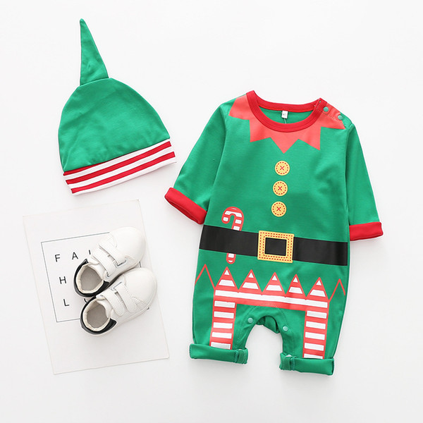 INS 4 Styles Children Christmas Supplies Clothing Suit Christmas costume robes Santa cotton romper hats One-piece long-sleeved baby Y1