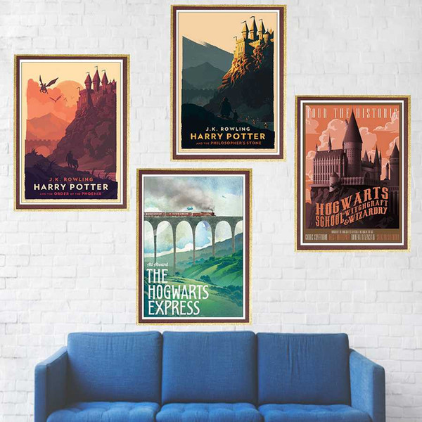 Poster Hogwarts Express Diagon Alley Hogsmeade Coated paper wall Movie Wall art Posters home decor
