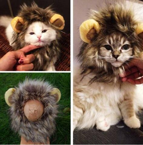wholesales 2019 cute pet costume cosplay lion mane wig cap hat for cat halloween xmas clot