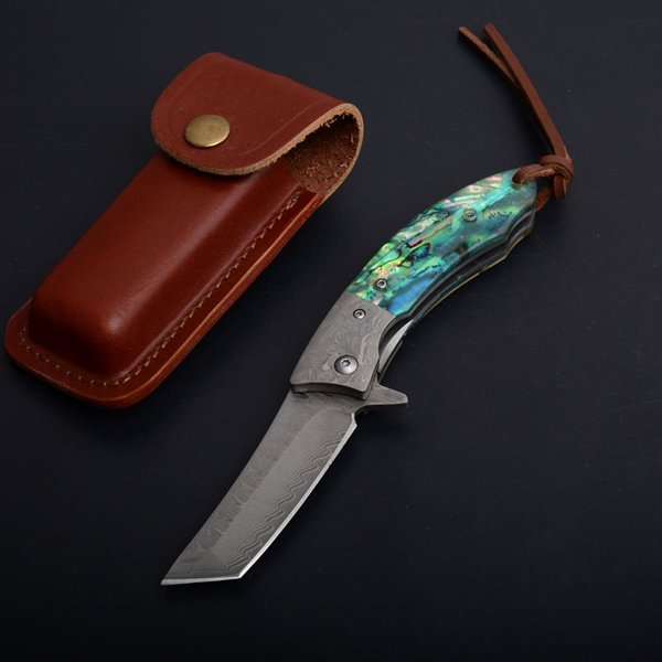 Free DHL 2 Styles Laser Engraved Knife Damascus Tactical Folding Knife Tanto Blade Wood Natural Abalone Handle EDC Pocket Gift Knives P539F