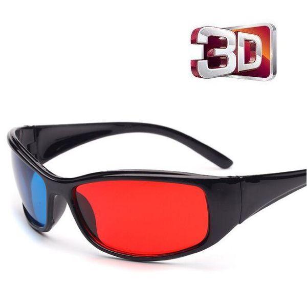 Occhiali 3D in plastica nera Cornice nera blu rosso 3D Visoin per film anaglifi dimensionale Videogiochi DVD Video TV