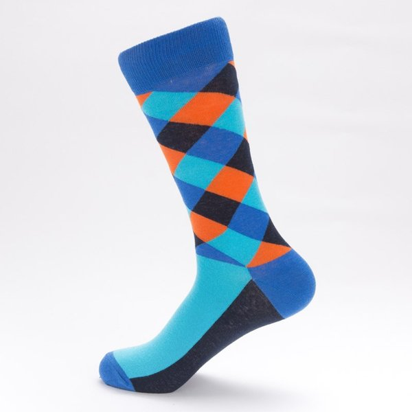 Colorful Argyle Striped Tube Socks Hipster Mens Fancy Streetwear Compression Skateboard Tartan Cotton High Hue Sock Large Unisex