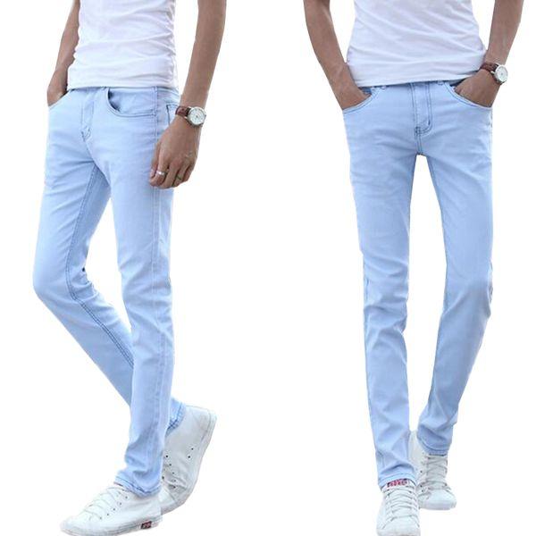 Großhandel 2018 Kleine Stretch Hellblaue Baumwolle Herren Jeans 28 29 30 31 32 33 34 36 Sky Blue Mann Jeans Hose Schlank Weich Und Bequem Von Red2015,