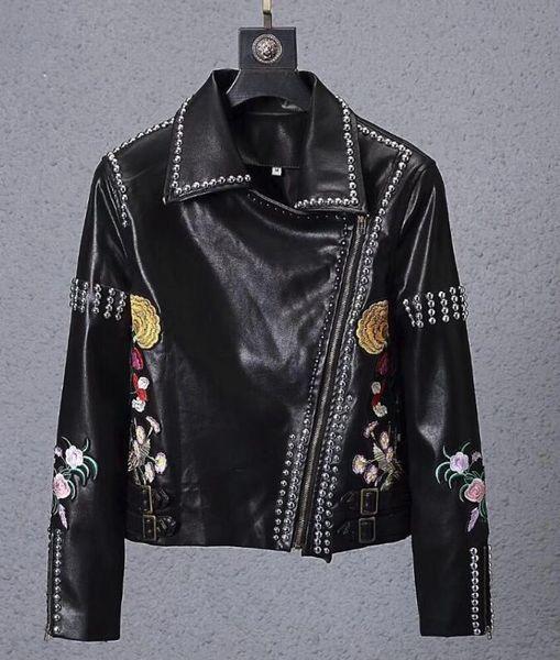 Großhandel 2018 Besten Designer Luxusmarke Kleidung Herren Stitching Streifen Farbe Stoff Brief Jacke V Ausschnitt Kleidung Lederjacke Leder Von