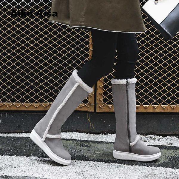 Aike Asia Fashion Damen Stiefel Handmade Leder Reißverschlüsse Schnee Schwarz Street Style Flache Plattform Ferse Dame Knee High Botas De Mujer