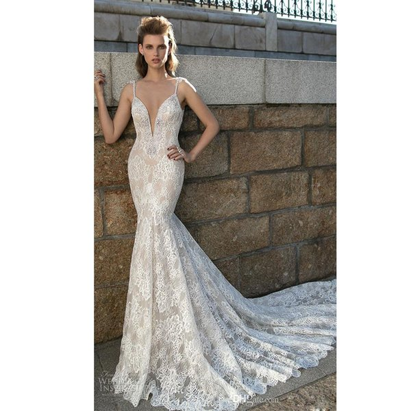 Berta 2018 Lace Beach Wedding Dresses Spaghetti Strap Crystal Backless Summer Bridal Gown Chapel Train Bohemian Wedding Gowns