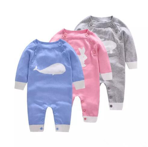 Baby cute knitted onesie for 0-2T 3colors toddlders animal knitting pattern long sleeve romper cute baby outfts for boys girls autumn winter