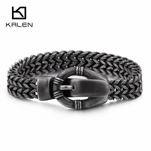 KALEN Punk Belt Buckle Charm Bracelets For Men 23cm Stainless Steel Brushed Matte Chain Link Bracelets Biker Jewelry Accessory