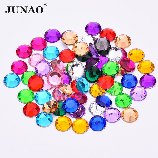 JUNAO 1000pcs 3mm Mix Color Round Acrylic Rhinestones Flatback Clear AB Crystal Strass Nail Art Stones Non Sewing Scrapbook Beads
