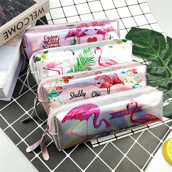 Zipper Pen Bag Cute Laser Pencilcase Cartoon Flamingo Pencil Box Student Gift School Supply Stationery 3 7sk C