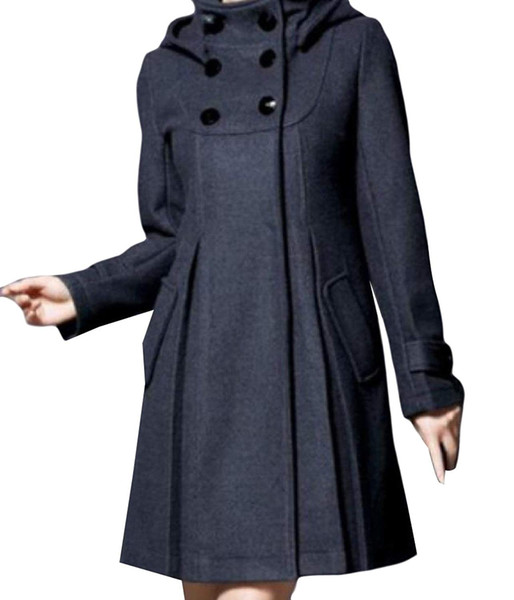 Women's Hood Woolen Mid-Long Solid Colored Classic Wrap Coat