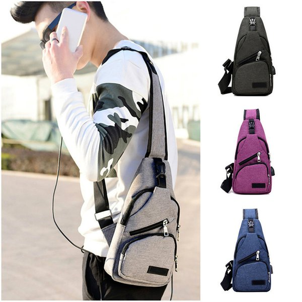 Outdoor Backpacks Men Sports Bag Chest Pack Canvas Single-shoulder Bag For Camping Hiking Trekking With Charging Port