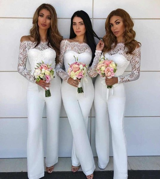 Fashionable Jumpsuit Bridesmaid Dress Long Off thr Shoulder Sleeves Lace Maid of Honor Gown Jumpsuits Womens Formal Prom Evening Gowns