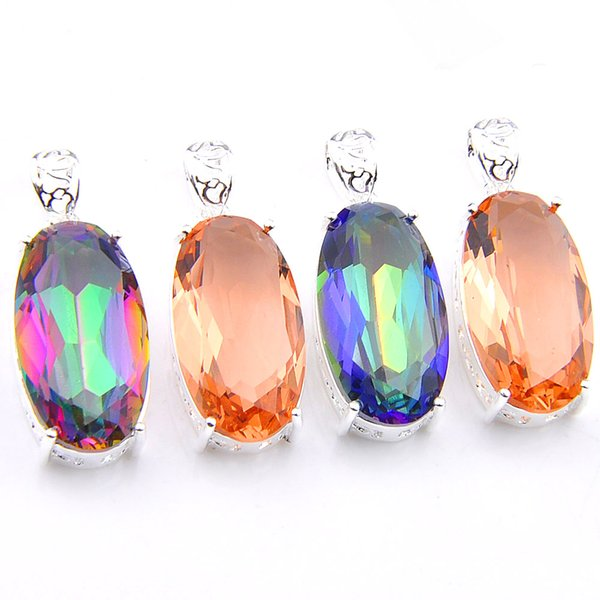 Mix Color 4PCS/Lot Classic Blue Mystic Topaz Morganite Gemstone 925 Silver Pendants for Necklace Party Holiday Gifts