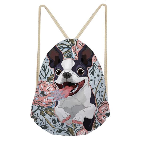 Coloranimal Sacos de Cordão Casuais das Mulheres Floral Yorkie Fantasia Francês Bull Dog Impresso Bolsas de Ombro para Menina Meninos de Armazenamento