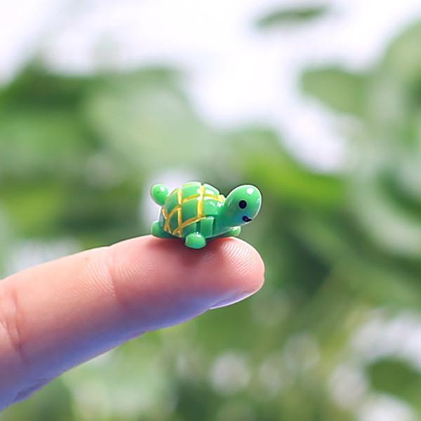 Artificielle Mignon Vert Tortue Animaux Fée Jardin Miniatures Mini Gnomes Mousse Terrariums Résine Artisanat Figurines Pour La Décoration De Jardin 971