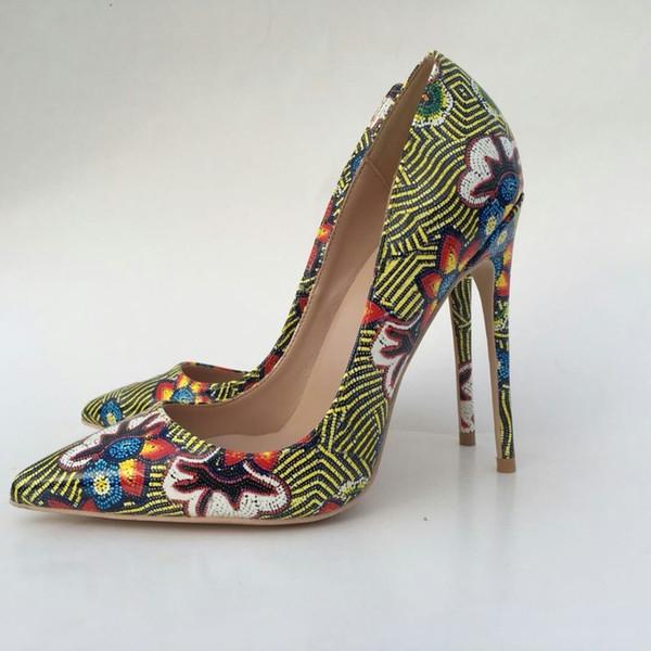 Keshangjia sexy scarpe a punta donna fiori stampa tacchi alti donna pompe scarpe donna festa matrimonio zapatos mujer sapato femminile