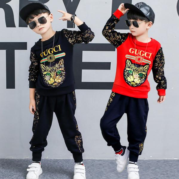 7d94582dc Niños Ropa Conjuntos Niño Moda Un Gato con Gafas Juegos de Impresión Trajes  Niños Marca Ropa