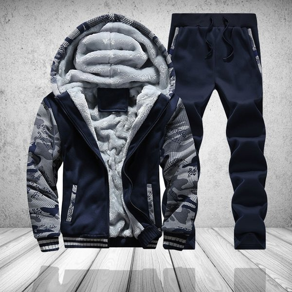 Fur Fleece Men Camouflage Set Winter Brand Warm Hooded Hoodies 2018 Jacket Cardigan Tracksuit Male 2 PCS Jacket+Pants Patchwork