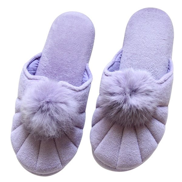 Cute Plush Ball Home Fur Slippers Women Indoor Bedroom Slippers Spring Autumn Floor Warm Shoes
