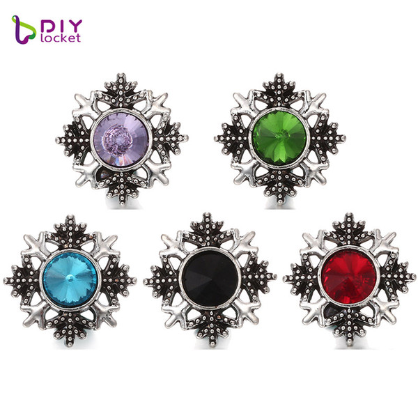 Crystal Snowflake Snap Jewelry Charms Mix Color Snap Button Jewelry For Women LSSN235
