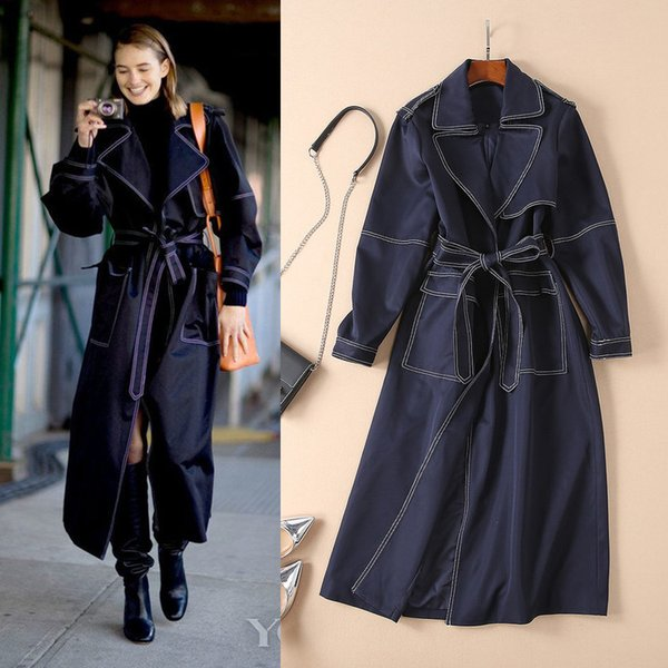 18 Autumn Winter Lapel Long-sleeved Compound Nylon Cotton Blue Belt Long Trench Coat