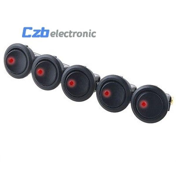 5Pcs 12V Car Round Rocker Dot Boat Red LED Light Toggle ON/OFF Switch