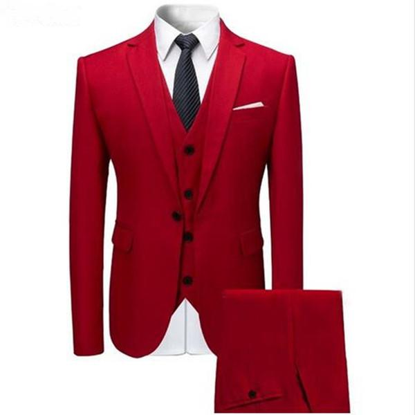 Custom Made Best Red Men Wedding Suits 3 Pieces Formal Tuxedos Slim Fit Men Wedding Party Suits (Jacket+Vest+Pant )