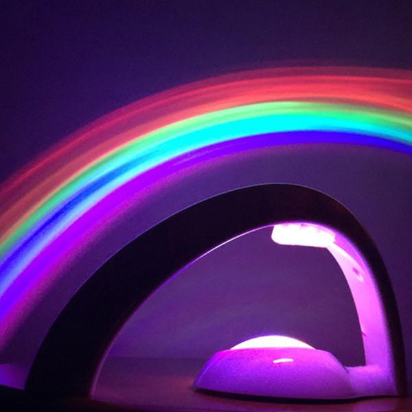 Glücklicher Regenbogen LED Projektor Lampen Batterieversorgung Kinder Baby Raumdekoration Nachtlicht Erstaunlich Glück Bunte luminaria LED