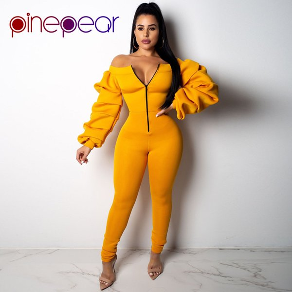 PinePear 2019 Winter Space Cotton Off Shoulder Jumpsuit Women Slash Neck Front Zipper Long Draped Lantern Sleeve Elegant Romper