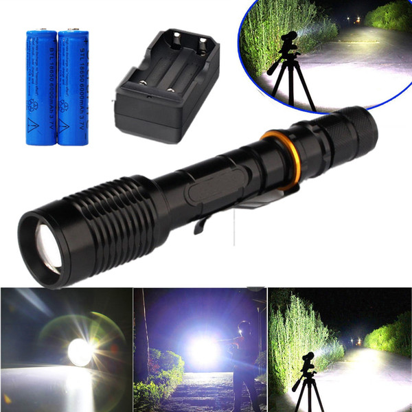 Super Bright 8000LM Flashlight Tactical Rechargeable Cree XM-L T6 Led Torch Zoomable 5 Modes SOS + 2x 18650 Battery+Charger
