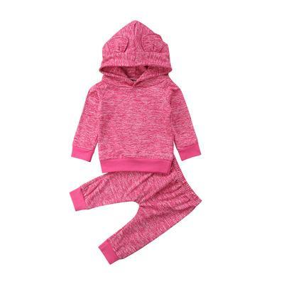 Moda Carino Neonato Ragazzi Ragazze Orso Orecchie con cappuccio Top Pantaloni 2PCS Abiti Set 2018 Autunno Inverno manica lunga in cotone Abbigliamento