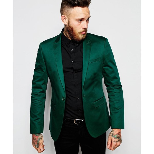 Customized new green gun collar collar single button men's fashion slim suit two-piece suit (coat + pants) wedding groom groomsmen dress