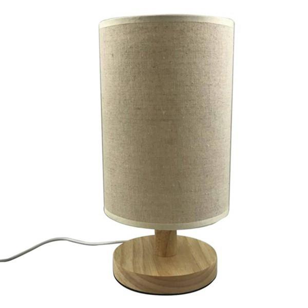 2018 New Design Modern Minimalist Wood Fabric Table Lamp USB Plug Bedroom Bedside Lamp Indoor Living Room Bedroom Night Light