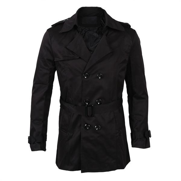 BFYL Moda Mens Inverno Fino Dupla Breasted Trench Coat Casaco Longo Casaco Outwear Preto