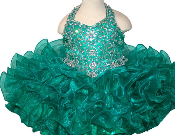 Girls Pageant Dresses 2019 Toddler Ball Gowns Unique Designer Halter Glitz Flower Girls Dresses For Wedding Short Cake Size 4 6 8 10