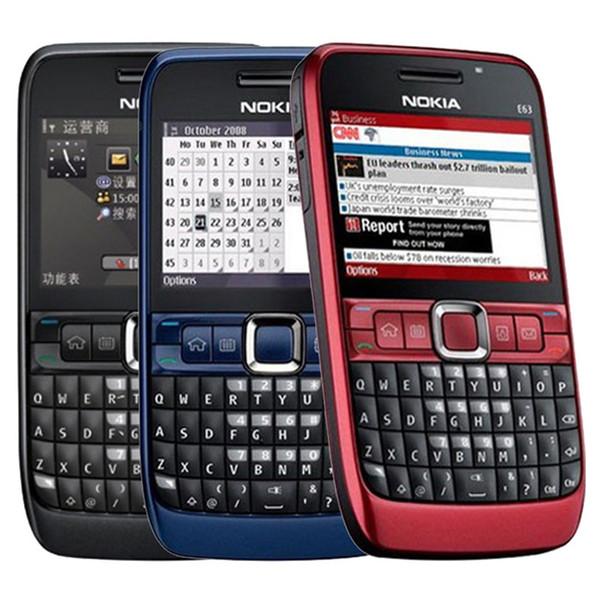 Refurbished Original Nokia E63 Unlocked Mobile Phone 2.36 inch Screen 2.0MP Camera 3G WIFI Bluetooth QWERTY Keyboard Free Post 1pcs