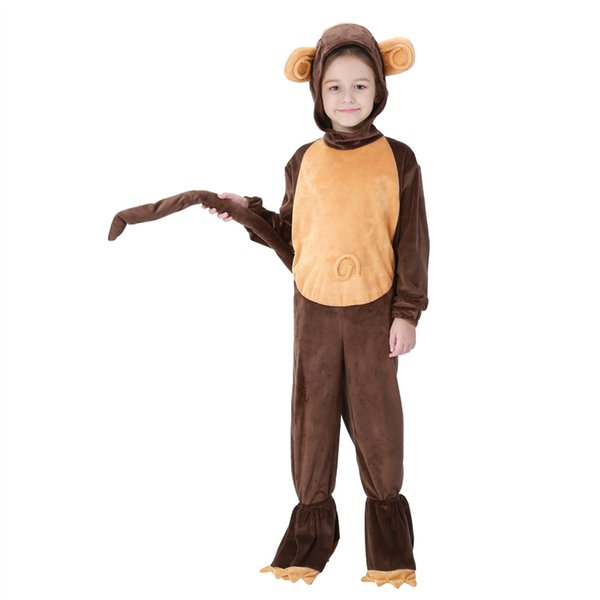 Carnival Stage Performance Monkey Cosplay Uniform Halloween Costume Kid Faux Fur Fancy Dress Animal Outfits for Children