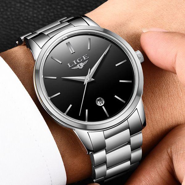 2018 LIGE Novo Simples Mens Relógios Moda Top Marca de Luxo Relógio de Quartzo Homens À Prova D 'Água Completa de Aço Sports Watch Relogio masculino