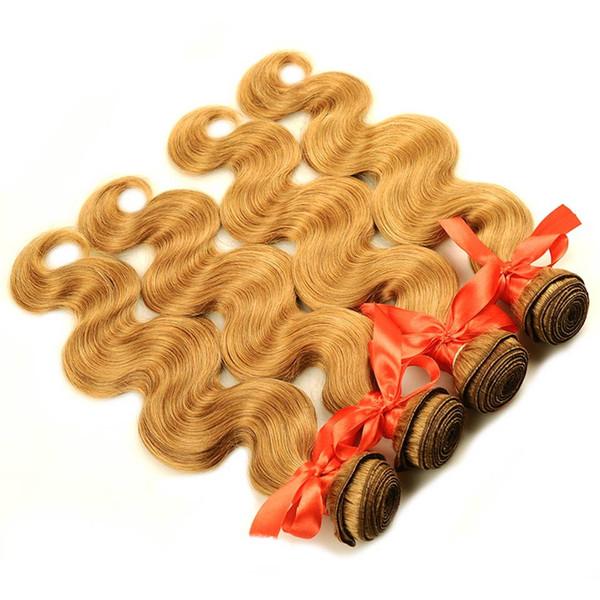 4 Pcs / Pack Body Wave Cheveux Miel Blond Brésilien Tissage Brésilien Bundle Offres # 27 100% Extensions de Cheveux Humains Non Remy Cheveux trame