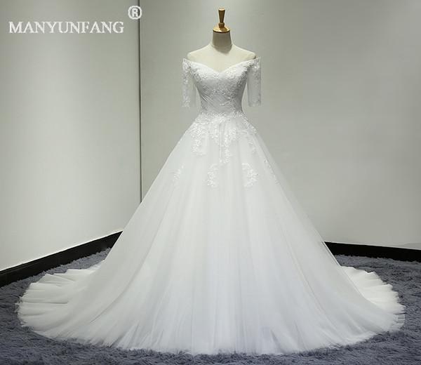 MANYUNFANG Half Sleeve Vintage Lace Bridal Dress Princess Ball Gown Wedding Dress Lace Beads Appliques Custom Made New Style robe de mariée