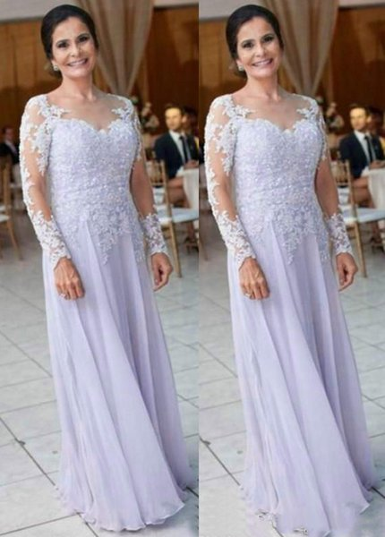 Elegant White Lace Appliques Mother of the Bride Dresses 2018 Sheer Neck Long Sleeves Mothers Dress Zipper Back Formal Dresses Evening Wear