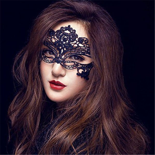New Sexy Lace Eye Masks Female Half Face Lace Eye Masks Hollow Flower Party Mask Masquerade Solid Sexy Black Woven Eye Masks