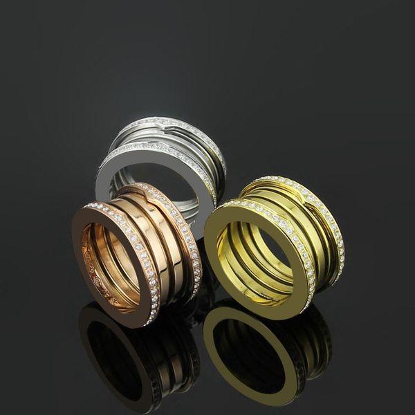 Clássico Primavera Casal Anel de Casamento de Alta Qualidade 18 K Rose Gold / Prata / Ouro Anel de Cristal Completo Anel de Amor para Homens e Mulheres